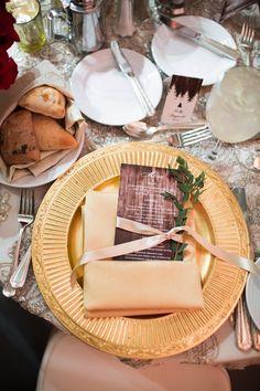Menu Card . Gold Charger. Sprigs of greens. Wedding Reception #mnwedding