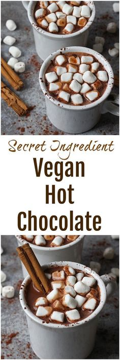 Vegan Hot Chocolate - This hot chocolate is far from your average cup of cocoa. Made without any dairy, this thick & creamy vegan hot chocolate contains a secret ingredient that gives it that silky texture!