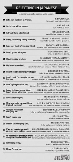 How to reject someone in Japanese. http://japanesetest4you.com/infographic-how-to-reject-someone-in-japanese/