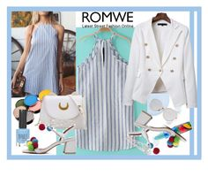 """ROMWE Blue-White Striped Dress"" by giovanina-001 ❤ liked on Polyvore featuring Morphe, MAC Cosmetics and Topshop"