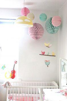Bird Nursery Mobile - Hanging Crib/Cot Decoration - Handmade Birds in Teal, Yellow and Pink Cotton Fabrics. £40.00, via Etsy.