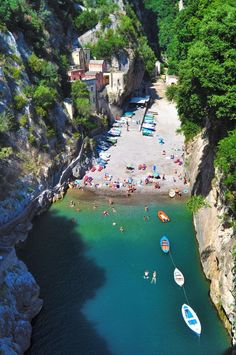 Hidden Beach, Furore Fjord, #Italy We would be happy to recharge our #batteries here.