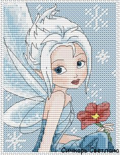 Gallery.ru / Фея Незабудка - Персонажи мультфильмов (платно) - Sichkar Cross Stitch Disney, Disney Cross Stitch Patterns, Cross Stitch Fairy, Cross Stitch For Kids, Cross Stitch Charts, Cross Stitch Designs, Tinkerbell And Friends, Disney Fairies, Cross Stitching