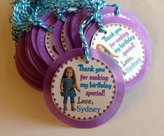 American Girl Birthday Party Theme | American Girl Custom Birthday Party Gift Tags by DivineDecorations