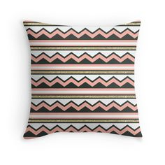 $19.84 This chic coral and gold chevron, glitter striped pillow is sure to look great in any room. With its aztec inspired pattern, this glittery and modern fabric will add a little sparkle into your life.