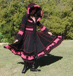 Black and neon pink elf coat, sold