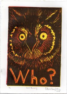 New to minouette on Etsy: Owl Who - Reduction Linocut - Typography with Owl Lino Block Print (22.00 USD)