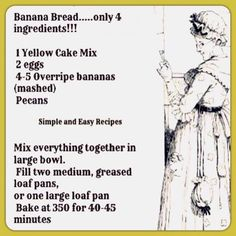 Banana Cake made with packet cake and over-ripe bananas . Easy Banana Bread made with Yellow Cake Mix Cake Mix Banana Bread, Easy Banana Bread, Bread Cake, Fruit Bread, Bread Food, Banana Mix, Food Food, Crepes, Nut Bread Recipe