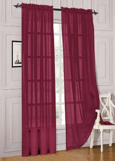 2 Piece Solid Burgundy Sheer Window Curtainsdrapepanelstreatment 58w X 84 ** Visit the image link more details.