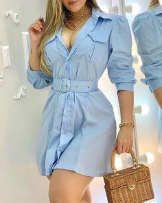Trend Fashion, Womens Fashion, Blue Long Sleeve Dress, Online Dress Shopping, Dress Online, Women's Fashion Dresses, Fashion Blouses, Pattern Fashion, Skirt Set