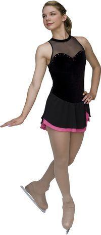 ChloeNoel DSV51 Velvet Sleeveless Chiffon Skirt Figure Skating Dress