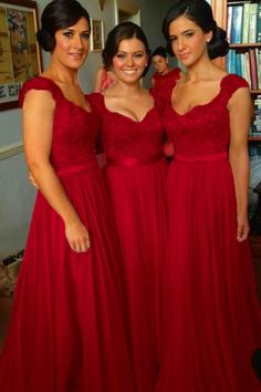 V-neck Long Cap Sleeves Dark Red Bridesmaid Dress With Beading Lace TY0010