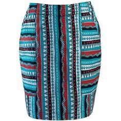 Mata Traders Fair Trade Patterns and Pockets Aztec Skirt ($68) ❤ liked on Polyvore