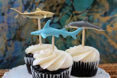 Shark week cupcake toppers