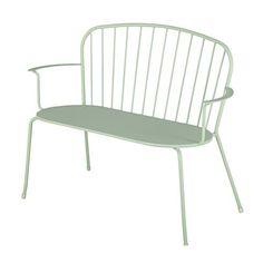 Stackable 2/3-seater garden bench in light green metal