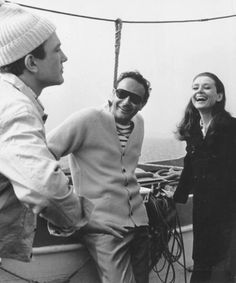 Albert Finney, director Stanley Donen and Audrey Hepburn during the production of Two for the Road in 1966