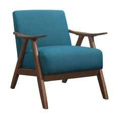 The retro-inspired wood framing of the Elle Collection will perfectly accent your modern home décor. Subtle contouring to the chair's walnut wood frame Living Room Chairs, Blue Accent Chairs, Upholstered Seating, Chair, Accent Seating, Furniture, Fabric Accent Chair, Attached Seating, Fabric Accents