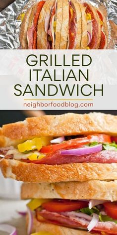 This Grilled Italian Stuffed Sandwich Loaf is a super savory, melty, tangy meal that will liven up your summer cookouts. Transform a store bought Italian loaf with some fresh deli meats and veggies. Healthy Sandwich Recipes, Grilled Cheese Recipes, Healthy Sandwiches, Sandwiches For Lunch, Lunch Recipes, Easy Dinner Recipes, Real Food Recipes, Camping Recipes, Beef Recipes