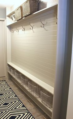 turn a narrow hallway into a mudroom using just 5 inches {wonder if I can add the shelf above or the baskets below to my mudroom} Narrow Hall Tree, Narrow Entryway, Entryway Storage, Laundry Room Storage, Entryway Ideas, Hallway Ideas, Storage Room, Storage Ideas, Entrance Decor