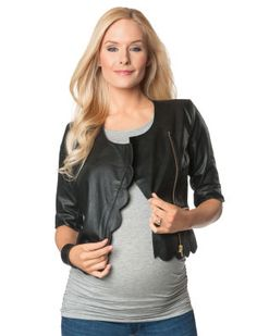 A Pea in the Pod Madison Marcus Faux Leather Trim Faux Leather Maternity Jacket