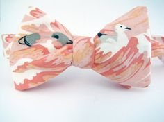 Men's Adjustable Freestyle Bowtie   Coral by ChipmunkPoint on Etsy
