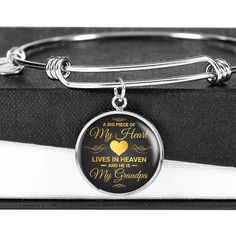 A Big Piece Of My Heart Lives in Heaven My Grandpa Memorial Circle Bra - Snappy Creations Bangle Bracelets, Bangles, In Memory Of Dad, Love Dad, Faux Fur Boots, You Are Amazing, Piece Of Me, Working Moms, Call Her