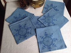 A personal favourite from my Etsy shop https://www.etsy.com/uk/listing/474861384/antique-linen-serviettes-blue