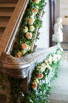 design stairs with flowers for my house for my wedding week Wedding Stairs, Wedding Ceremony, Wedding Venues, Wedding Arbors, French Wedding, Dream Wedding, Wedding Week, Fake Flowers, Beautiful Flowers