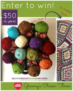 Enter this giveaway from @AllFreeCrochetAfghanPatterns for a chance to win all this yarn! Now through February 19, 2014.