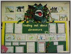 Grab everyone's attention with this dinosaur display. Back To School Displays, Display Boards For School, Class Displays, Classroom Displays Ks1, Eyfs Classroom, Classroom Themes, Dinosaur Projects, Dinosaur Activities, Science Projects