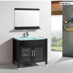 "ITEM NO. 6: 36 inch Bathroom Vanity in Espresso w/ Tempered Glass Top and Basin - $699 Specifications: Main Cabinet: W36"" x D21.5"" x H33.5"" Framed Mirror: W31.5"" x H27.5""  If you have any questions or would like more information regarding product details and pictures, please call/text me at 412x204x6202."