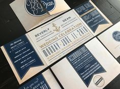 Nautical Theme Custom Fold Wedding Invitation Suite Custom