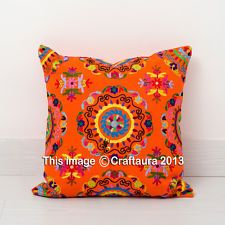 """INDIAN SUZANI EMBROIDERED PILLOW CUSHION COVER Decorative Vintage Throw 16"""""""