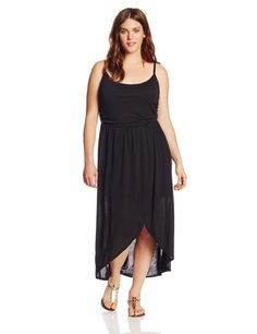 Plus-Size Tulip Hem Hi Lo Maxi Dress, Cheap price for this product. Color: Black Spandex Machine Wash Flattering rouching on top part (bodice) of the dress Trendy crossover tulip hem Approx. 55 inch from shoulder to back hem Stylish Plus Size Clothing, Trendy Plus Size, Plus Size Fashion, Plus Size Maxi Dresses, Trendy Dresses, Plus Size Outfits, Resort Wear Dresses, Spring Dresses, Sexy Outfits