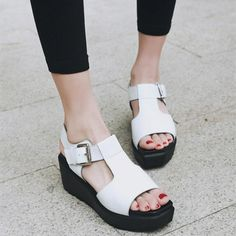 (59.95$)  Know more - http://ainxv.worlditems.win/all/product.php?id=32798597934 - Black White Wedges Sandals For Women 2017 Summer New Open-toed Thick Crust Creepers Slope Heels Ladies Shoes Thick Bottom Shoe
