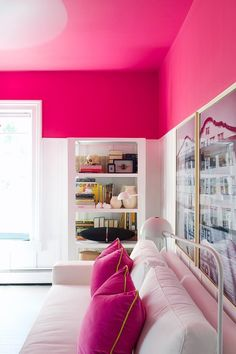 "The ""Combat the Gloom"" Home Office Makeover — Makeovers: Decorating Project Pink Ceiling, Colored Ceiling, Accent Ceiling, Ceiling Color, Home Design, Interior Design, Plafond Rose, Home Living, Living Room"
