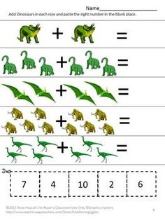 Counting Fun With Dinosaurs Cut and Paste Worksheet Set-Strong counting skills will help students progress to a strong math foundation. Dinosaur Worksheets, Dinosaur Activities, Preschool Activities, Dinosaurs Preschool, Preschool Prep, Kindergarten Math Worksheets, Math Literacy, Morning Work, Math Centers