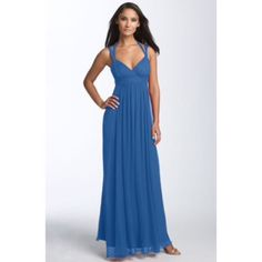 BCBG Max Azria Blue Chiffon Gown size 8 Wore this beauty to prom. Beautiful BCBG Dress that was comfortable and breathable. BCBGMaxAzria Dresses