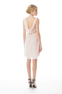 Heather Short Cowl Neck Ceremony Dress by Joanna August IN CORAL OR NAVY (back of dress)