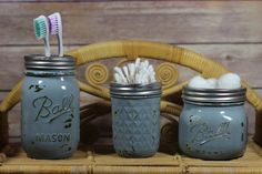 Mason Jar Set with Toothbrush Holder Q-Tip Holder and Cotton Ball Holder - Hand painted Distressed Bathroom Set - 3 pieces - Gift Set ... Price: $16.00 ... Where to Buy: Etsy.com ... ♥ the #giftdetectives