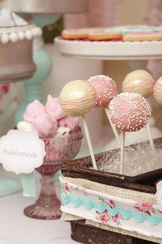Shabby Chic Girl Spring Floral Bridal Shower Party Planning Ideas--cake pops for dessert