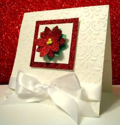 handmade Christmas card: HAPPY HAPPY, JOY JOY!! by Karen B Barber ... one layer card ... white with brocade embossing folder texture ... red glitter paper mat with a red layered glitter paper poinsettia ... lovely!