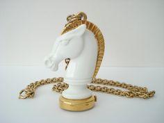 Vintage Trifari 17 Jewels Watch Necklace White Lucite Horse Chess Piece. $ 295.00, via Etsy.