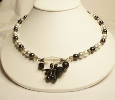 Necklace Black White and Grey Faux Pearls combined by CindyDidIt, $23.00