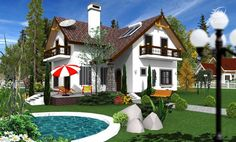 case-frumoase-beautiful-house-plans-8 Beautiful House Plans, Beautiful Homes, Tree Bedroom, Small House Design, Design Case, Home Fashion, Entrance, Sweet Home, How To Plan