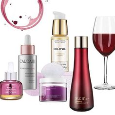 Need the perfect pairing for your glass of red?  Look to some of these wine-inspired skincare products that tap into the anti-aging and antioxidant powers of resveratrol (found in the skin and seeds of red grapes). #Arcona - Wine Oil #Caudalie - Resveratrol Lift #Neogen - Gauze Peeling Wine #SundayRiley - Bionic #Sum37 - Amazing Peeling Smoother
