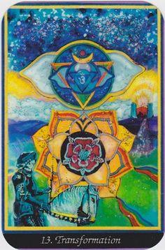 Transformation card (Death) from the Chakra Arcana tarot. Art by Carol Herzer.