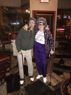 My husband and I as an old couple for Halloween! Everyone loved it! p.s. all thrift store clothing!