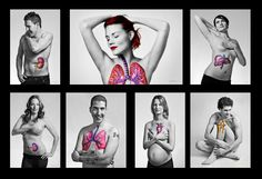 A stunning photo campaign for Organ Donation by Transplant BC and Eva Markvoort and Cyrus McEachern. Painted on organs represent transplants these people received. Live life, pass it on. Organ Donation Poster, Donation Quotes, Cystic Fibrosis, Dialysis, Kidney Disease, Belleza Natural, Print Ads, Live Life, Lungs