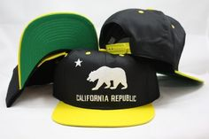 Vintage California Republic Snapback Two Tone Black / Yellow Adjustable Plastic Retro Snap Back Hat / Cap by eclipse. $9.98. Make a fashion statement while wearing this throwback snapback cap.. Save 67% Off!